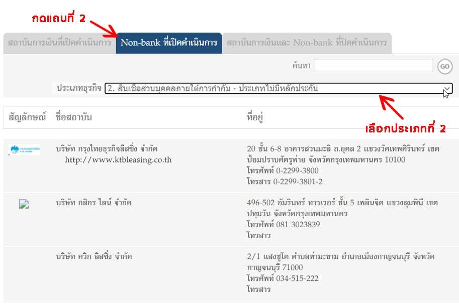 วิธีค้นรายชื่อผู้ให้บริการสินเชื่อที่ได้รับรองจากธนาคารแห่งประเทศไทย